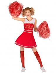 Cheerleader Kostüm für Damen Sportler-Outfit rot-weiss