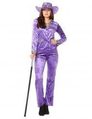 80´s Zuhälter-Damenkostüm für Fasching Retro-Kostüm violett-schwarz-weiss