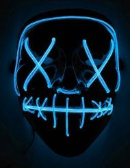 Leuchtende LED-Maske Halloween-Maske Mordnacht schwarz-blau