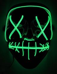 Leuchtende LED-Maske Halloween-Maske Mordnacht schwarz-grün
