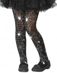 Strumpfhose mit Spinnennetzen für Mädchen Halloween-Accessoire schwarz-weiss