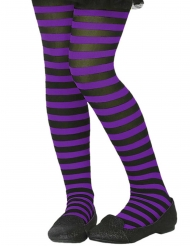 Kinderstrumpfhose Accessoire gestreift lila-schwarz