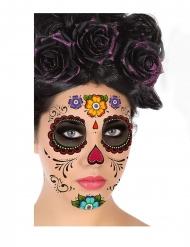 Tag der Toten-Gesichts-Tattoos Sugar Skull Aufkleber bunt