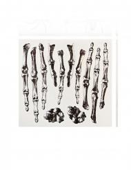 Skelett-Aufkleber Hand-Tattoos für Halloween 12-teilig schwarz-weiss