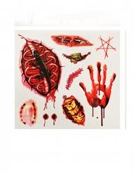 Horror-Tattoos Halloween-Make-up 9 Stück rot