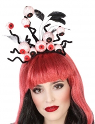 Verrückter Augen-Haarreif Kostüm-Accessoire für Halloween schwarz-rot-weiss