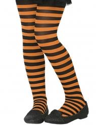 Strumpfhose für Kinder gestreift Accessoire Fasching orange-schwarz