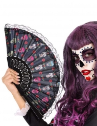 Tag der Toten-Fächer Kostüm-Accessoire für Halloween schwarz-weiss-rosa