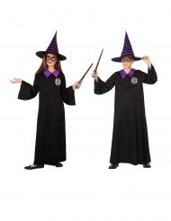 Fleißiger Zauberschüler Kinderkostüm für Jungen und Mädchen schwarz-lila