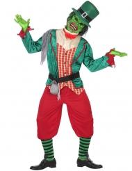 Zombie Leprechaun Kostüm für Herren grün-rot