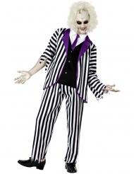 Poltergeist-Herrenkostüm für Halloween schwarz-weiss-violett