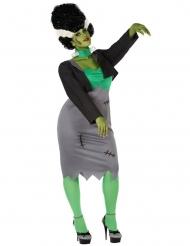 Frankies-Monsterfrau Damenkostüm für Halloween große Größen grau-grün