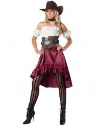 Sheriff-Kostüm für Damen Western-Verkleidung rot-weiss