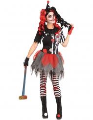 Schauriges Clownkostüm Harlekin-Dame schwarz-rot-weiss