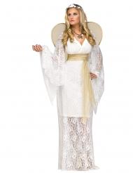 Bezauberndes Engels-Kostüm für Damen mit Spitze weiss-gold