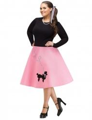 50er-Jahre Rockabilly-Kostümrock für Fasching Übergröße rosa-schwarz