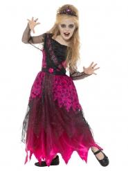 Ballkönigin-Zombiekostüm für Mädchen Halloween pink-schwarz