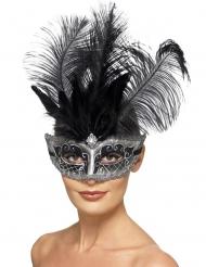 Venezianische Augenmaske mit Federn für Damen Accessoire für Karneval schwarz-weiss