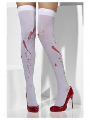 Halterlose Strümpfe mit Blutflecken Kostüm-Accessoire weiss