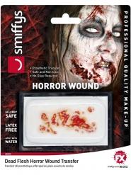 Ekelhafte Zombie-Wunde für Halloween Make-up rot