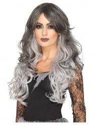 Geister-Perücke Langhaarig für Damen Halloween grau-weiss