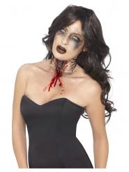Blutige Hals-Verletzung Zombie-Accessoire für Halloween hautfarben-rot