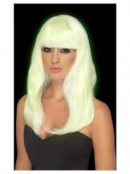 Phosphoreszierende-Perücke für Damen nachleuchtend gelb