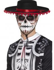 Sombrero Tag der Toten-Kostüm-Accessoire für Erwachsene schwarz-rot