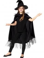 Zubehör-Set für kleine Hexen Umhang und Hut 2-teilig schwarz