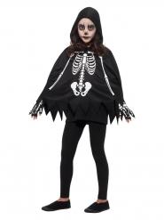 Poncho Skelett-Kostüm für Kinder Halloween-Verkleidung schwarz-weiss