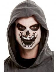 Schauriges Skelett-Make-up mit Klebe-Tattoo 4-teilig schwarz-weiss