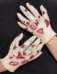 Zombie-Handschuhe aus Latex Halloween-Zubehör hautfarben