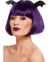 Kurzhaarige Fledermaus-Perücke für Damen Halloween lila