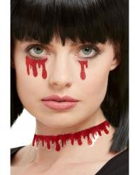 Blutflecken Aufkleber fürs Gesicht Make-up Zubehör für Halloween rot