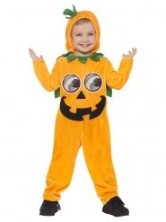 Lustiges Kürbis-Kostüm für Kinder Halloween orange-schwarz-grün