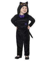 Flauschige Katze Kinderkostüm für Mädchen schwarz
