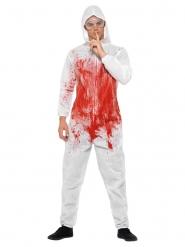 Serienkiller-Herrenkostüm für Halloween Mörder weiss-rot