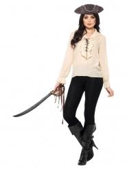 Klassische Piraten-Bluse für Damen weiss-schwarz