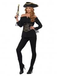 Piratenbluse für Damen Kostüm-Zubehör Karneval schwarz
