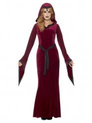 Mittelalterliches Damenkostüm für Halloween rot-schwarz