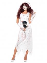 Zombiebraut-Kostüm für Damen weiß Halloween