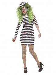 Zombie-Gefangenen-Kostüm für Damen weiss-schwarz
