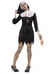 Blutige Nonne Halloween-Kostüm für Damen schwarz-weiss-rot