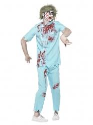 Zombie-Zahnarzt Kostüm für Halloween türkis-weiss-rot