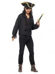 Piratenhemd für Herren Karnevals-Zubehör Pirat schwarz