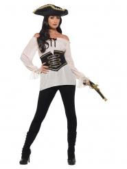 Sexy Piratenbluse mit Gürtel Damen-Kostümzubehör weiss-schwarz