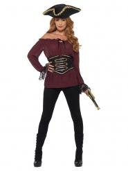 Verführerische Piraten-Bluse für Damen Kostüm-Zubehör bordeauxrot