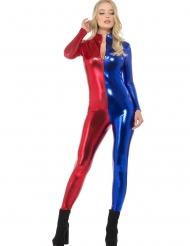 Sexy Overall Damenkostüm Halloween und Karneval blau-rot