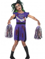 Schauriges Cheerleader-Kostüm für Mädchen Halloween-Verkleidung lila-schwarz
