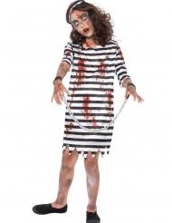 Zombie-Sträflingskostüm für Mädchen Halloween-Verkleidung schwarz-weiss